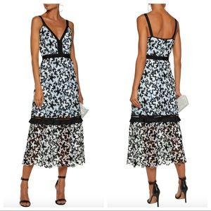 SELF-PORTRAIT Open Knit-Trimmed Lace Midi Dress